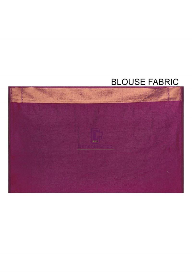 Woven Banarasi Cotton Silk Saree in Purple 3