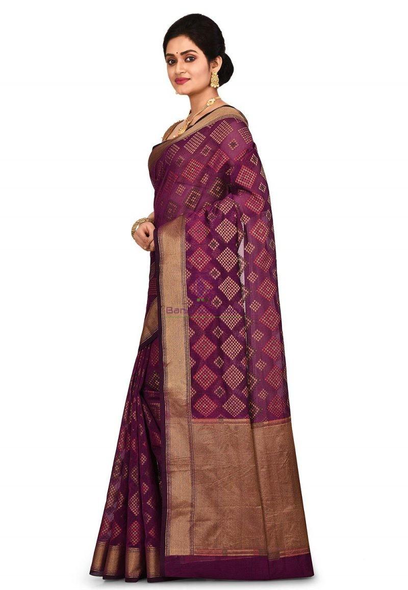 Woven Banarasi Cotton Silk Saree in Purple 4