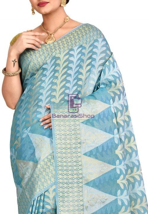 Woven Banarasi Cotton Silk Saree in Sky Blue 5
