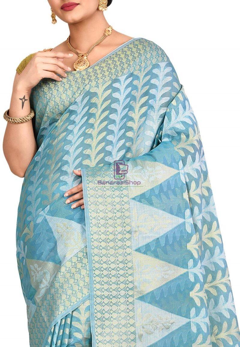 Woven Banarasi Cotton Silk Saree in Sky Blue 2