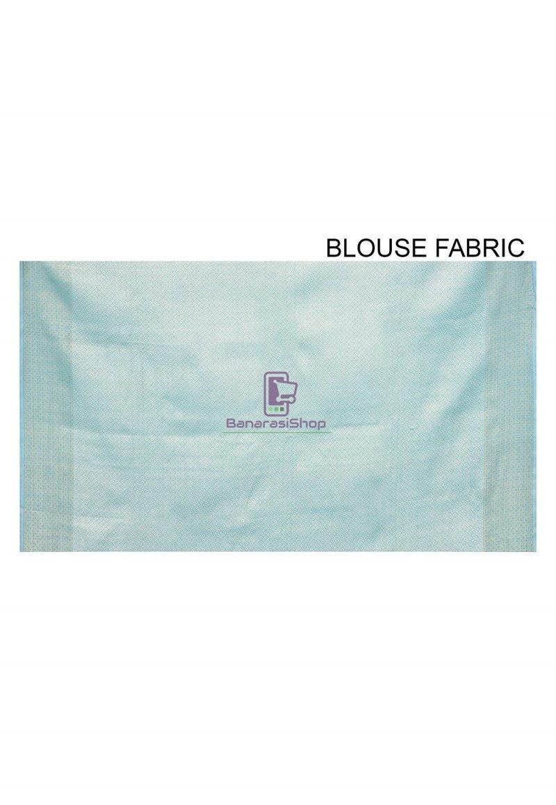 Woven Banarasi Cotton Silk Saree in Sky Blue 3