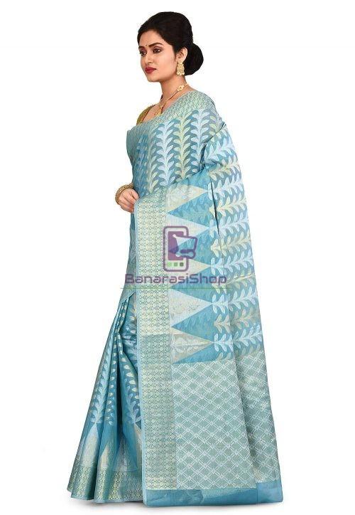 Woven Banarasi Cotton Silk Saree in Sky Blue 7