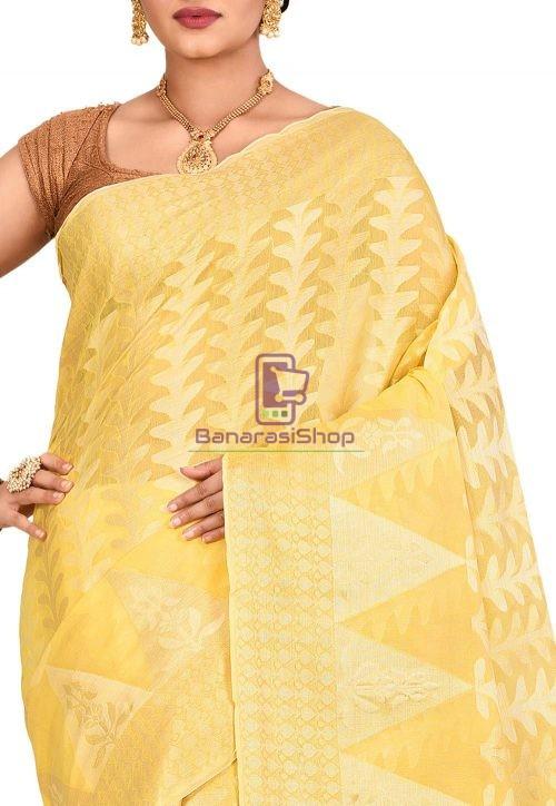 Woven Banarasi Cotton Silk Saree in Yellow 5