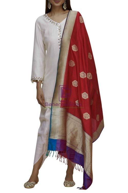 Handloom Banarasi Pure Katan Silk Dupatta in Red and Purple 4