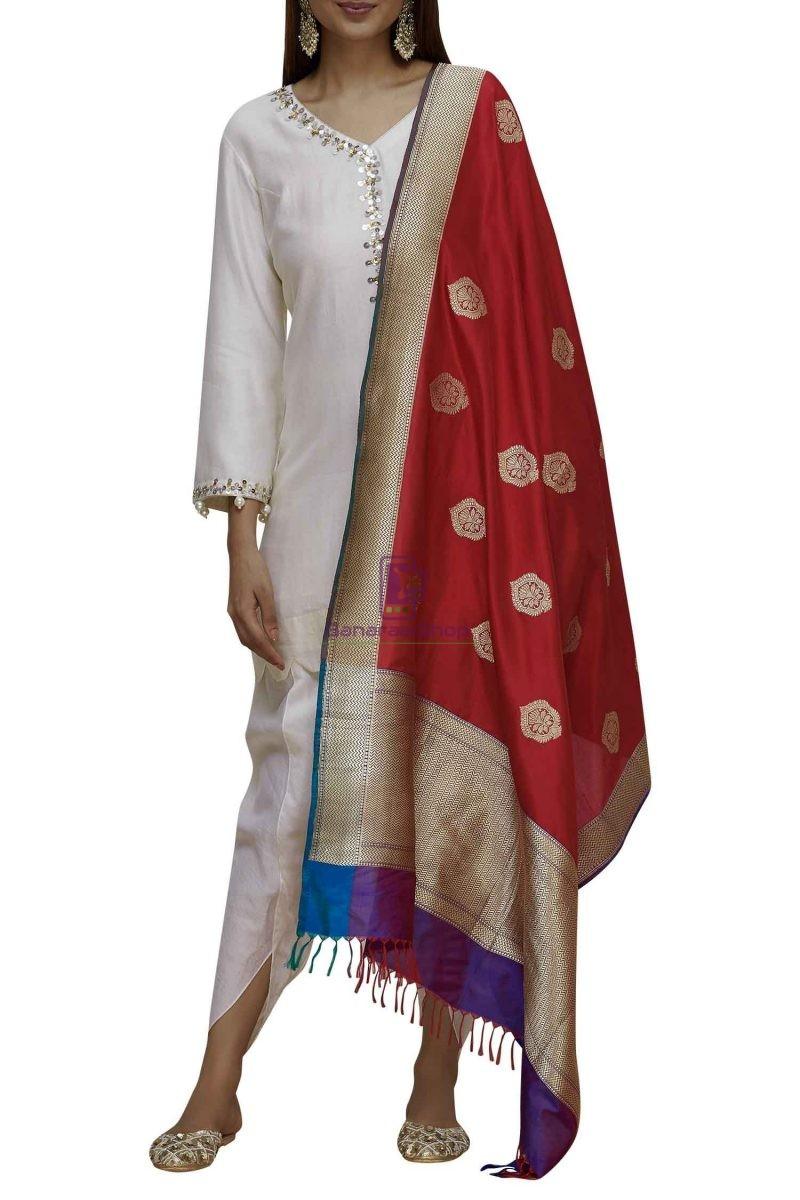 Handloom Banarasi Pure Katan Silk Dupatta in Red and Purple 2