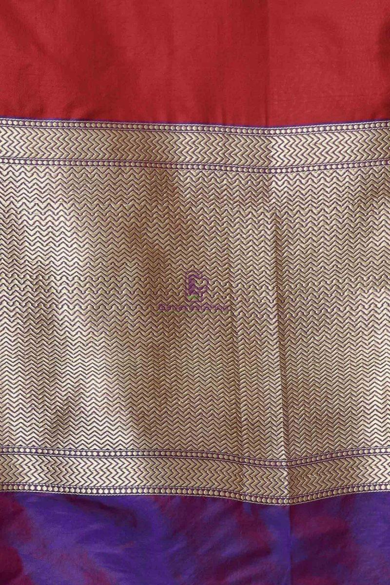 Handloom Banarasi Pure Katan Silk Dupatta in Red and Purple 3