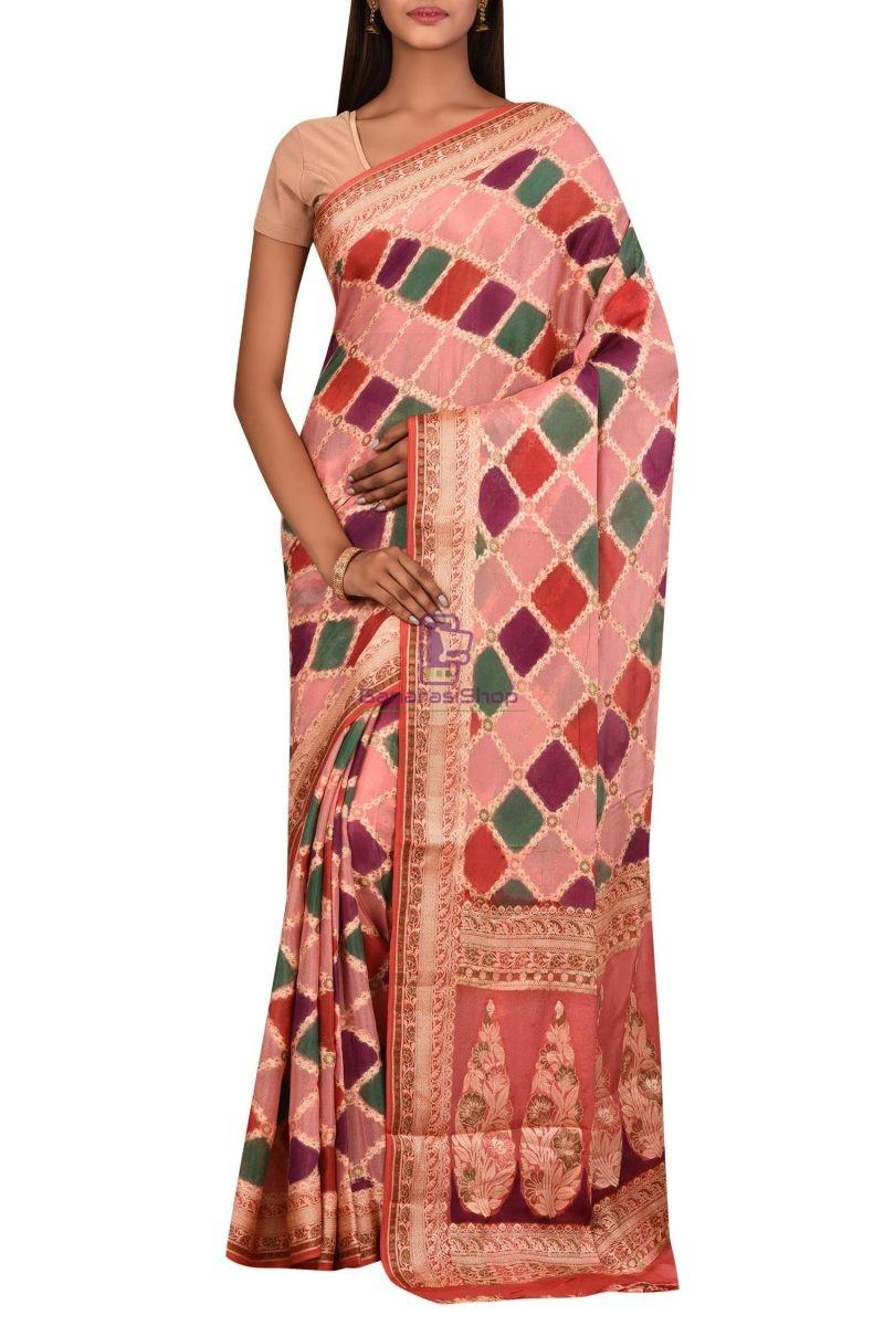 Banarasi Pure Chiffon Silk Saree with Unstitched Blouse Fabric 1