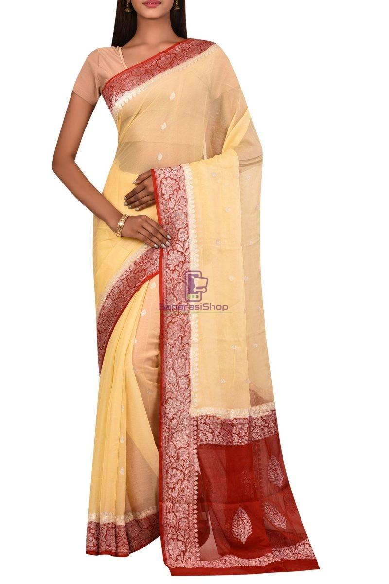 Banarasi Pure Handloom Khaddi Georgette Silk Silver Zari Saree 1