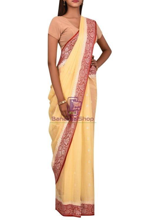 Pure Banarasi Handloom Khaddi Georgette Silk Saree with Unstitched Blouse Fabric 6