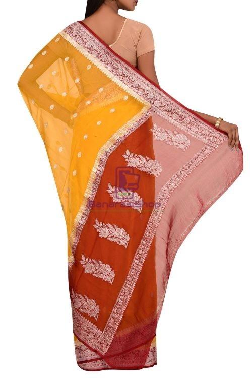Banarasi Pure Handloom Khaddi Georgette Silk Silver Zari Saree 5