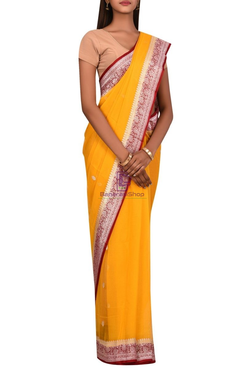 Banarasi Pure Handloom Khaddi Georgette Silk Silver Zari Saree 3