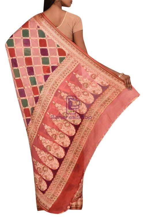 Banarasi Pure Chiffon Silk Saree with Unstitched Blouse Fabric 5