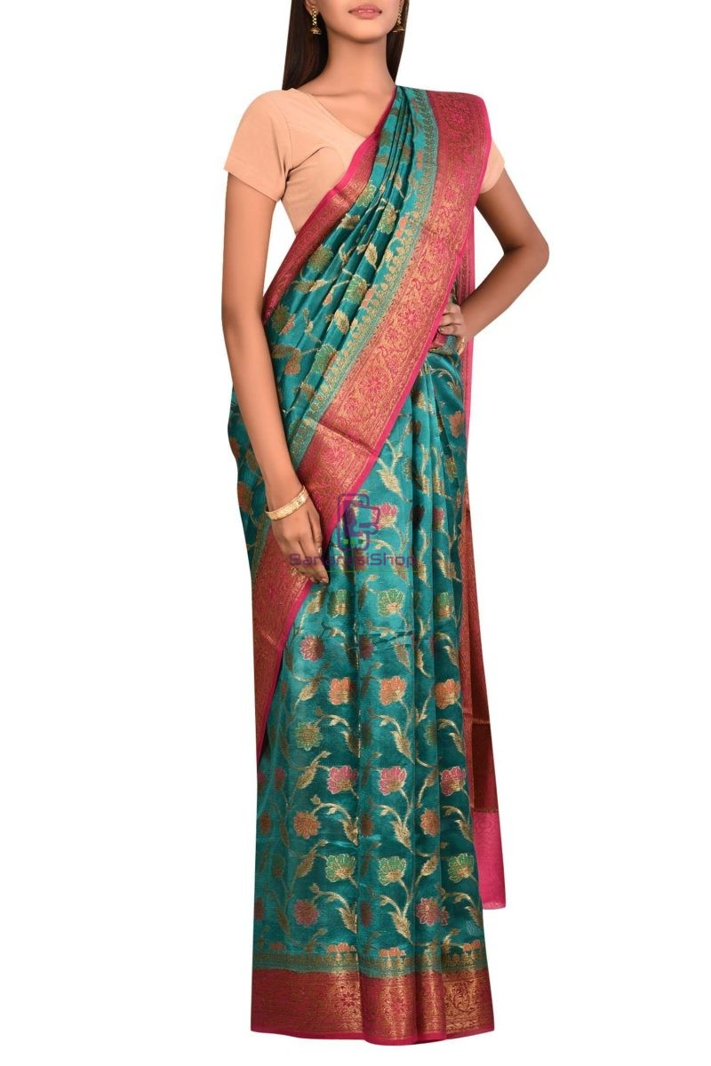 Pure Woven Banarasi Dupion Silk Saree with Unstitched Blouse Fabric 3