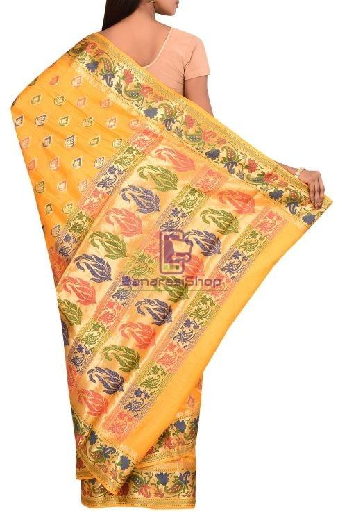 Banarasi Pure Tussar Silk Saree with Unstitched Blouse Fabric 5