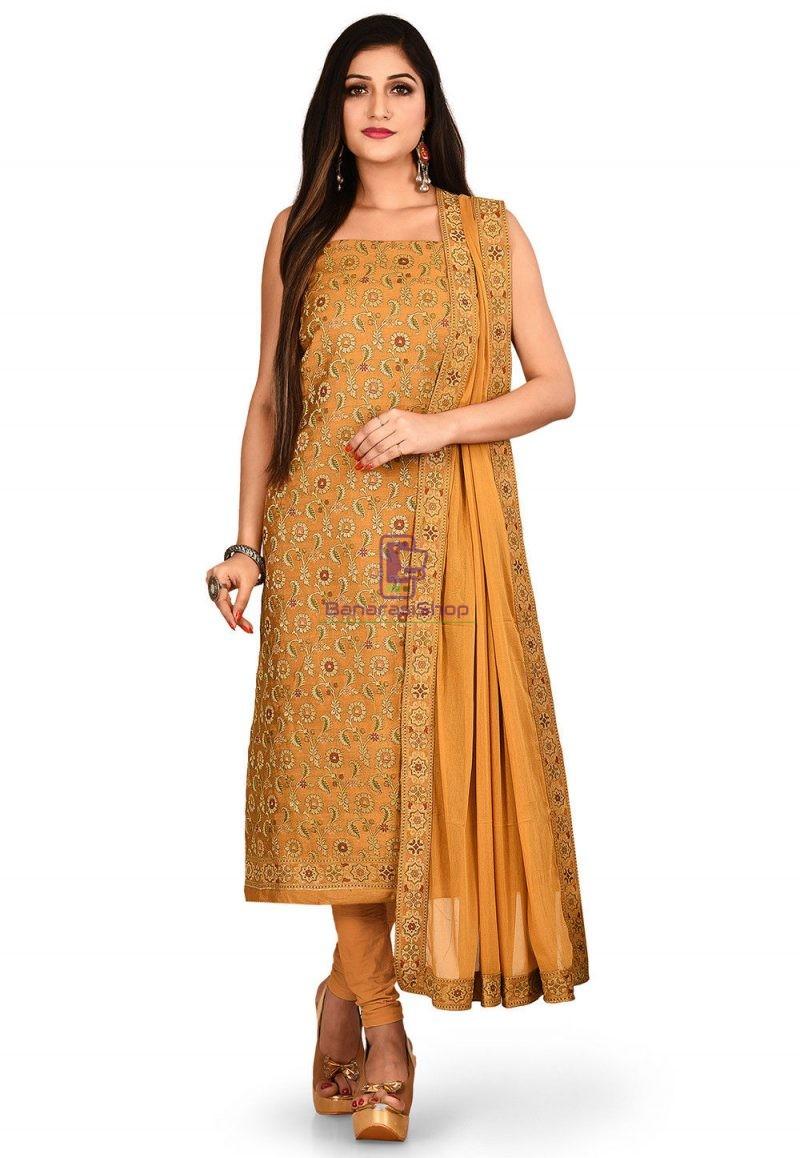 Woven Banarasi Cotton Silk Straight Suit in Mustard 1