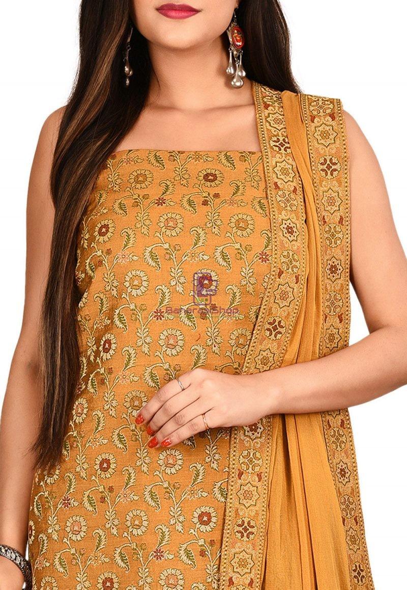 Woven Banarasi Cotton Silk Straight Suit in Mustard 2