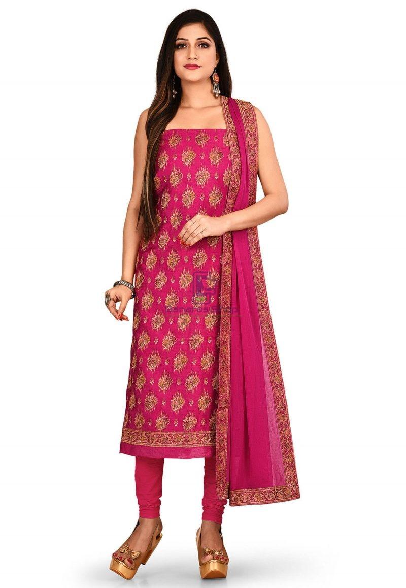 Woven Banarasi Cotton Silk Straight Suit in Fuchsia 1