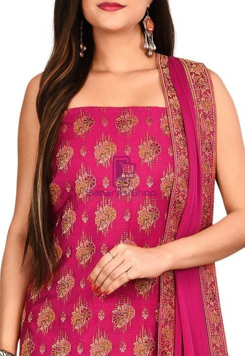 Woven Banarasi Cotton Silk Straight Suit in Fuchsia 3