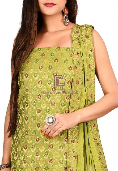 Woven Banarasi Cotton Silk Straight Suit in Green 3
