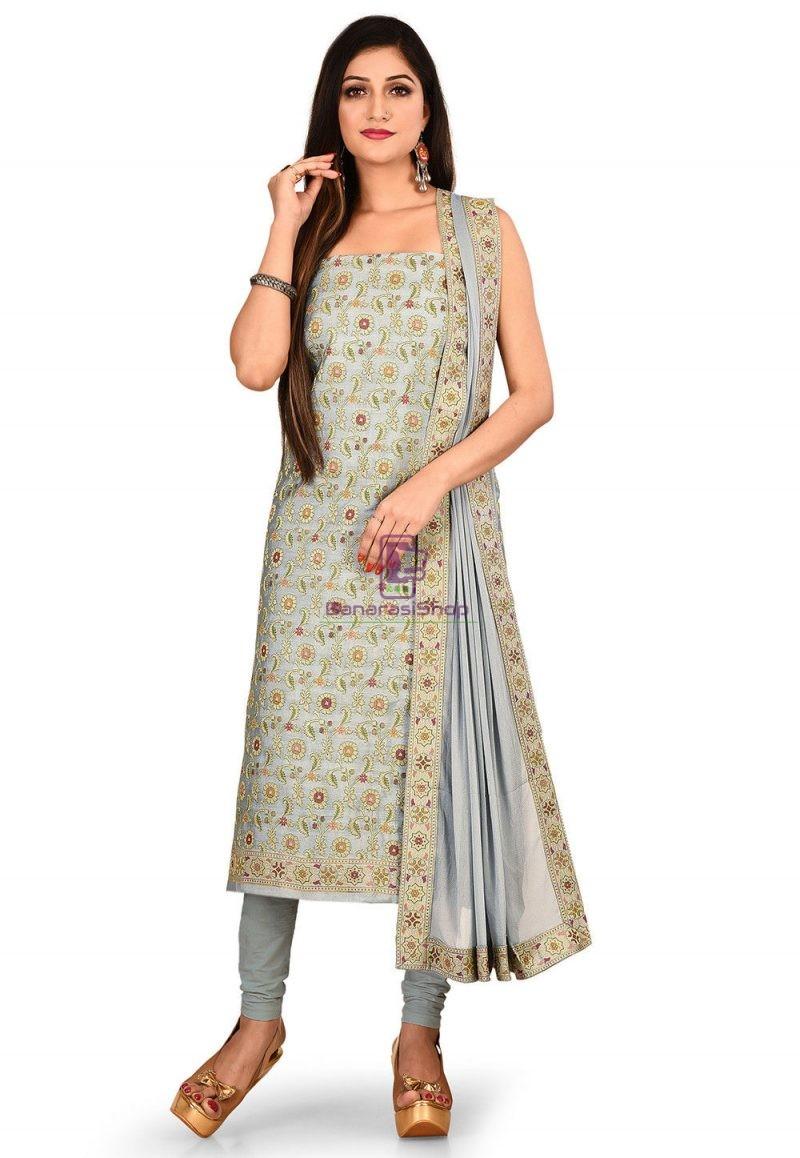 Woven Banarasi Cotton Silk Straight Suit in Grey 1