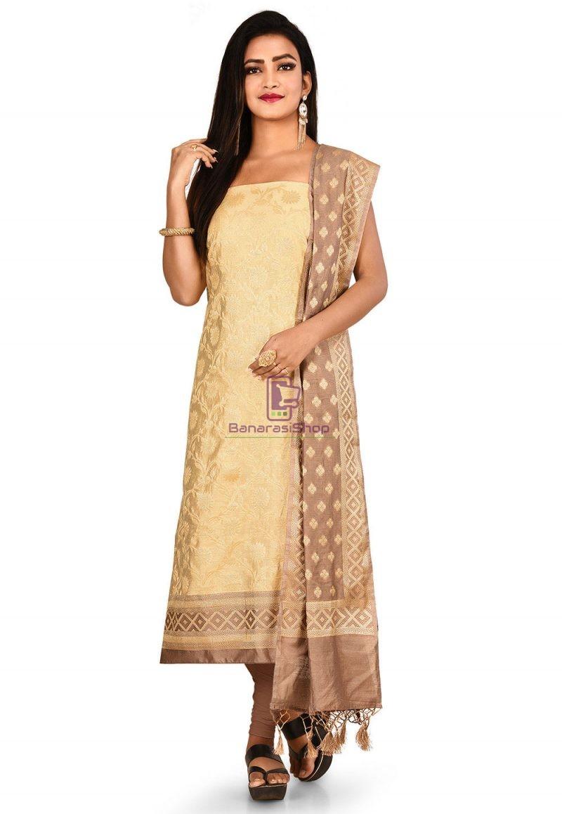 Woven Banarasi Cotton Silk Straight Suit in Light Beige 1
