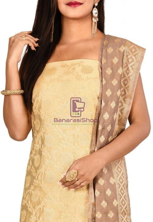 Woven Banarasi Cotton Silk Straight Suit in Light Beige 3