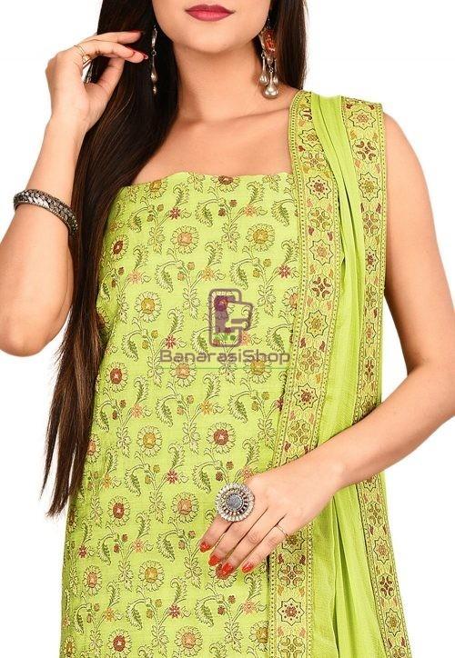 Woven Banarasi Cotton Silk Straight Suit in Light Green 3
