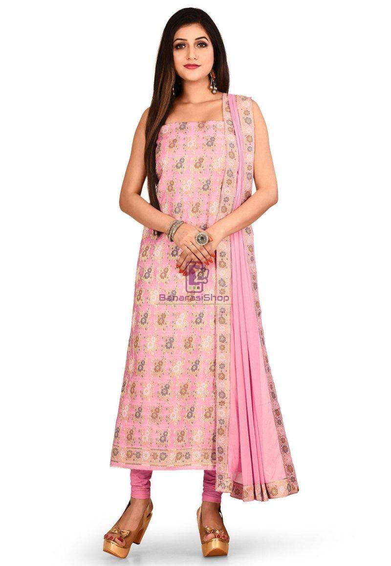 Woven Banarasi Cotton Silk Straight Suit in Light Pink 1