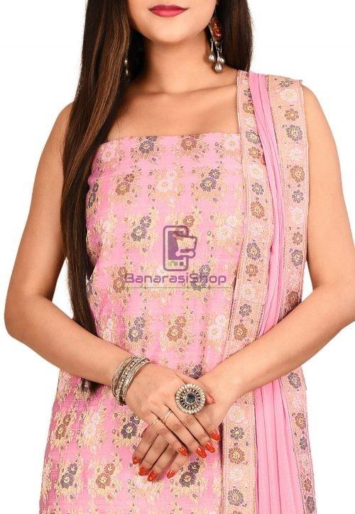 Woven Banarasi Cotton Silk Straight Suit in Light Pink 3