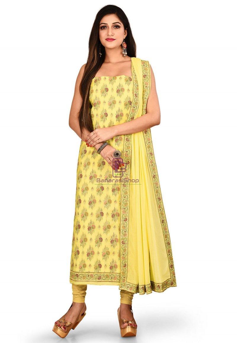 Woven Banarasi Cotton Silk Straight Suit in Light Yellow 1