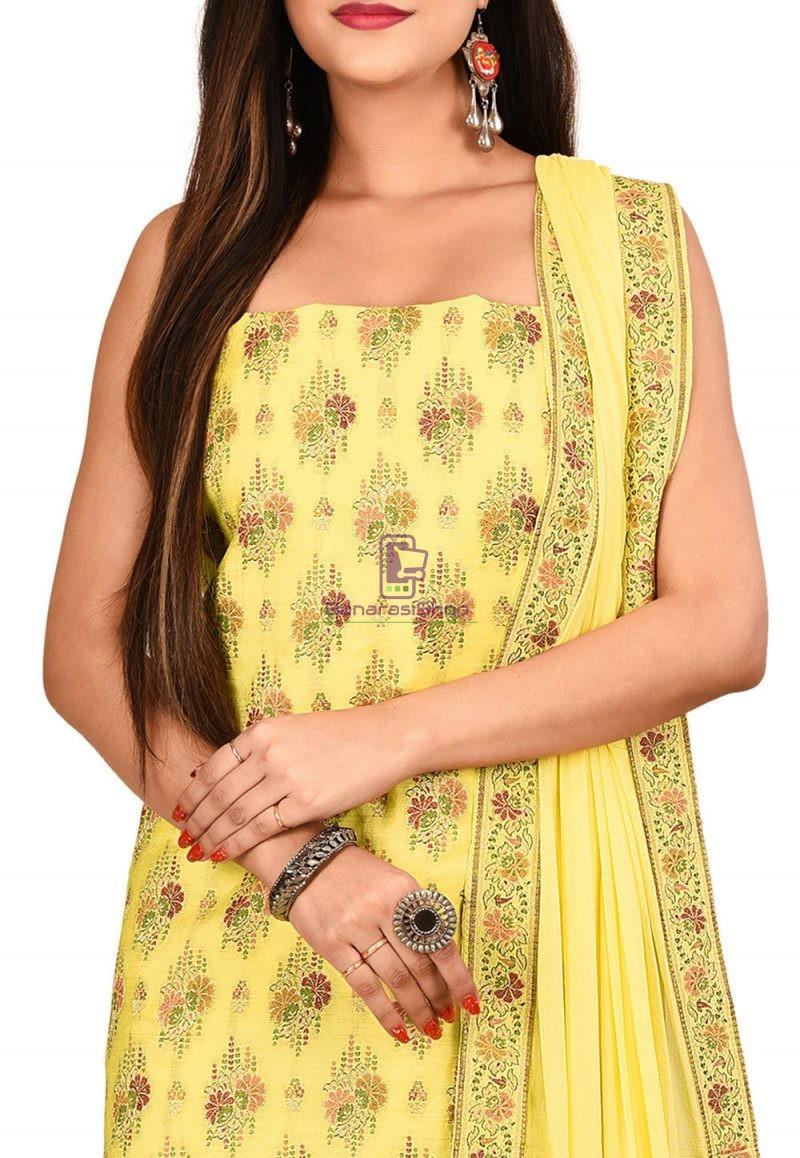 Woven Banarasi Cotton Silk Straight Suit in Light Yellow 2
