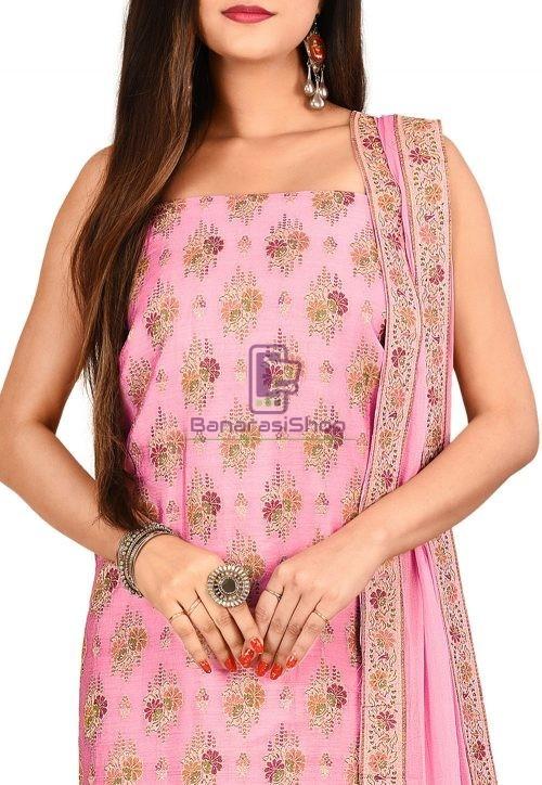 Woven Banarasi Cotton Silk Straight Suit in Pink 3