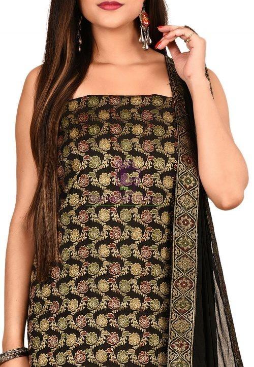 Woven Banarasi Silk Straight Suit in Black 3