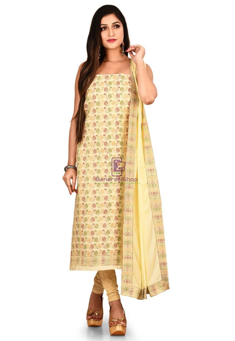 Woven Banarasi Silk Straight Suit in Cream 1