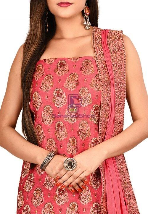 Woven Banarasi Silk Straight Suit in Fuchsia 3