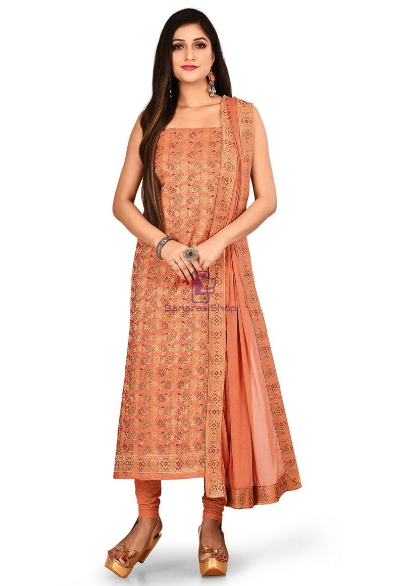 Woven Banarasi Silk Straight Suit in Peach 1
