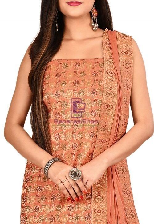 Woven Banarasi Silk Straight Suit in Peach 3