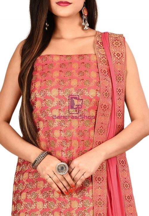 Woven Banarasi Silk Straight Suit in Pink 3