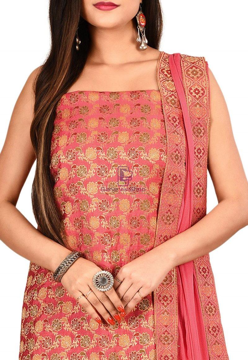 Woven Banarasi Silk Straight Suit in Pink 2