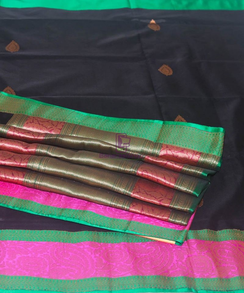 Banarasi Pure Katan Silk Handloom Black Saree 1