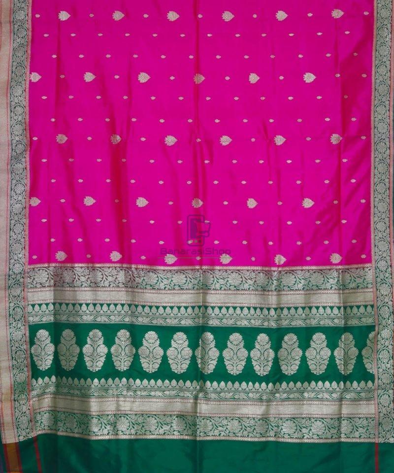 Banarasi Pure Katan Silk Handloom Pink and Green Saree 2