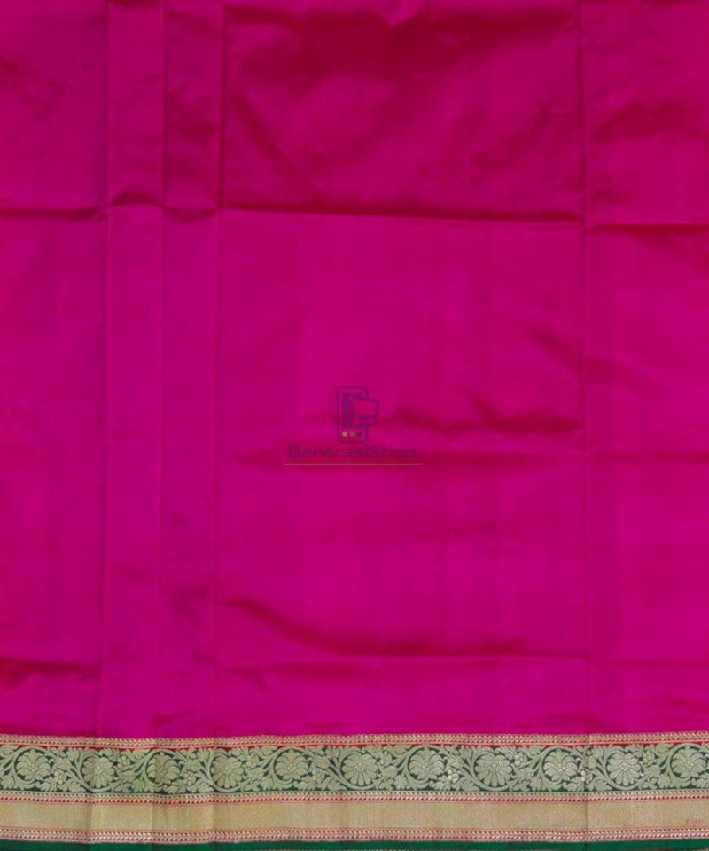 Banarasi Pure Katan Silk Handloom Pink and Green Saree 4