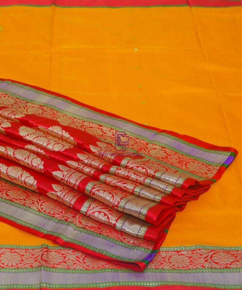 Banarasi Pure Katan Silk Handloom Golden Yellow Saree 1