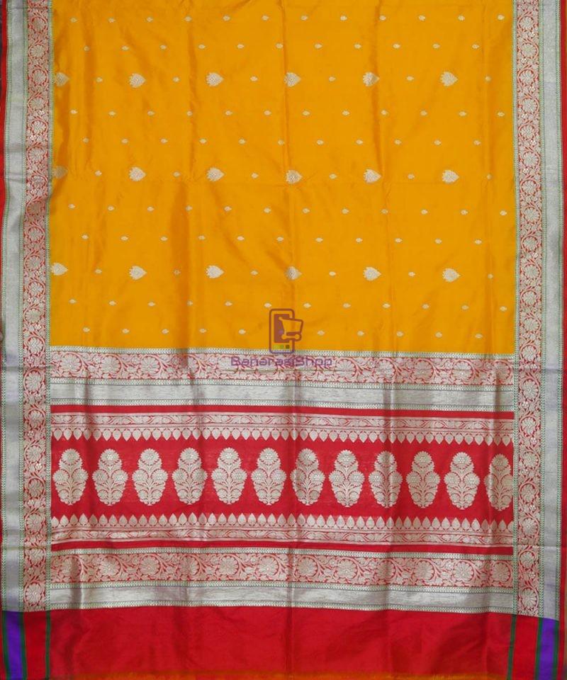 Banarasi Pure Katan Silk Handloom Golden Yellow Saree 2