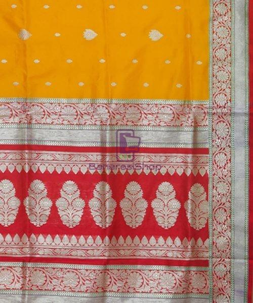 Banarasi Pure Katan Silk Handloom Golden Yellow Saree 6