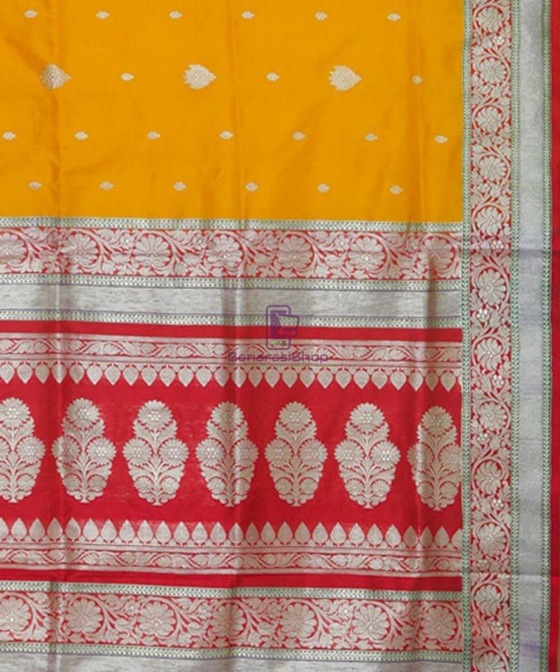 Banarasi Pure Katan Silk Handloom Golden Yellow Saree 3
