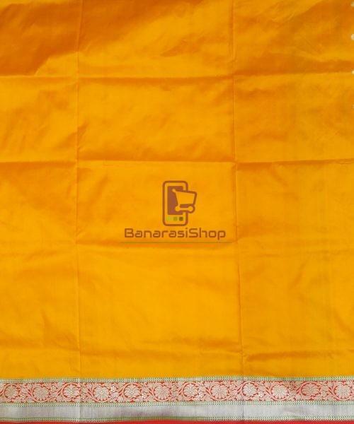 Banarasi Pure Katan Silk Handloom Golden Yellow Saree 7