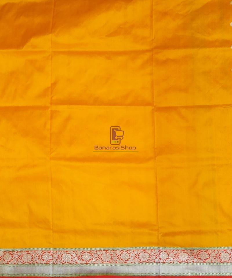 Banarasi Pure Katan Silk Handloom Golden Yellow Saree 4