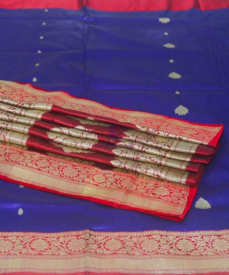 Banarasi Pure Katan Silk Handloom Admiral Blue Saree 1