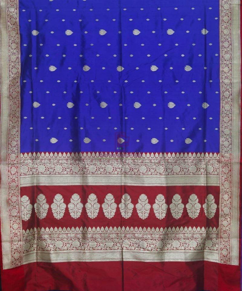 Banarasi Pure Katan Silk Handloom Admiral Blue Saree 2